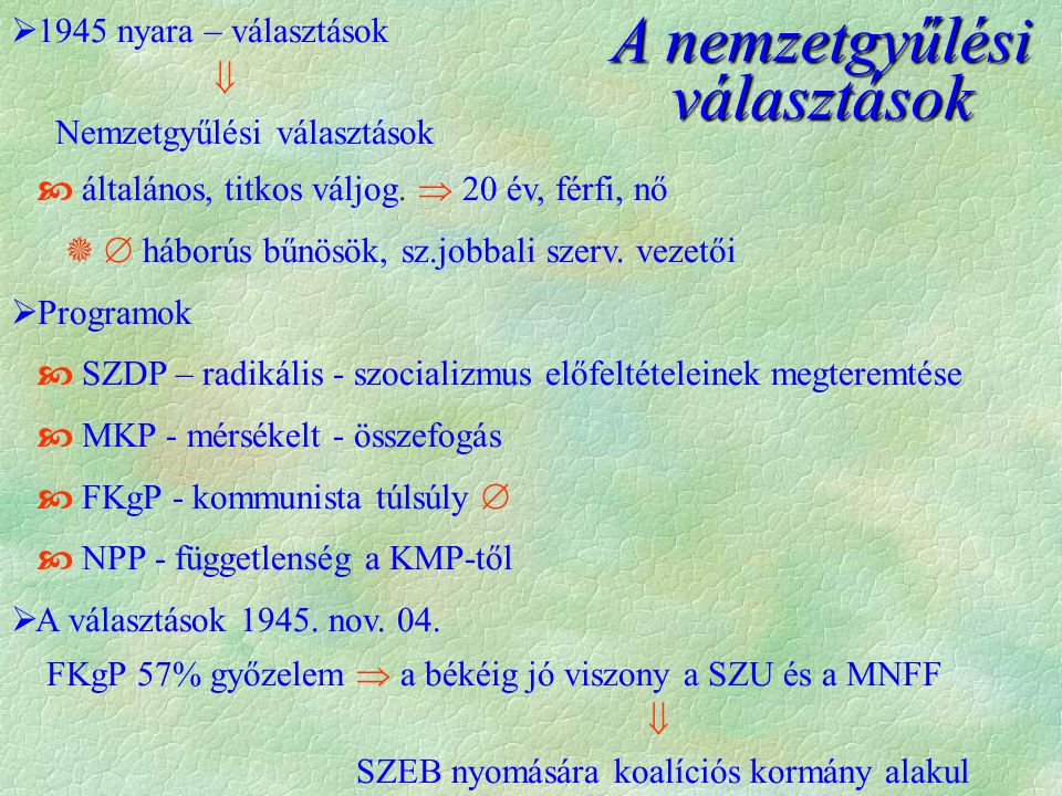  1945 nyara – választások  Nemzetgyűlési választások  általános, titkos váljog.