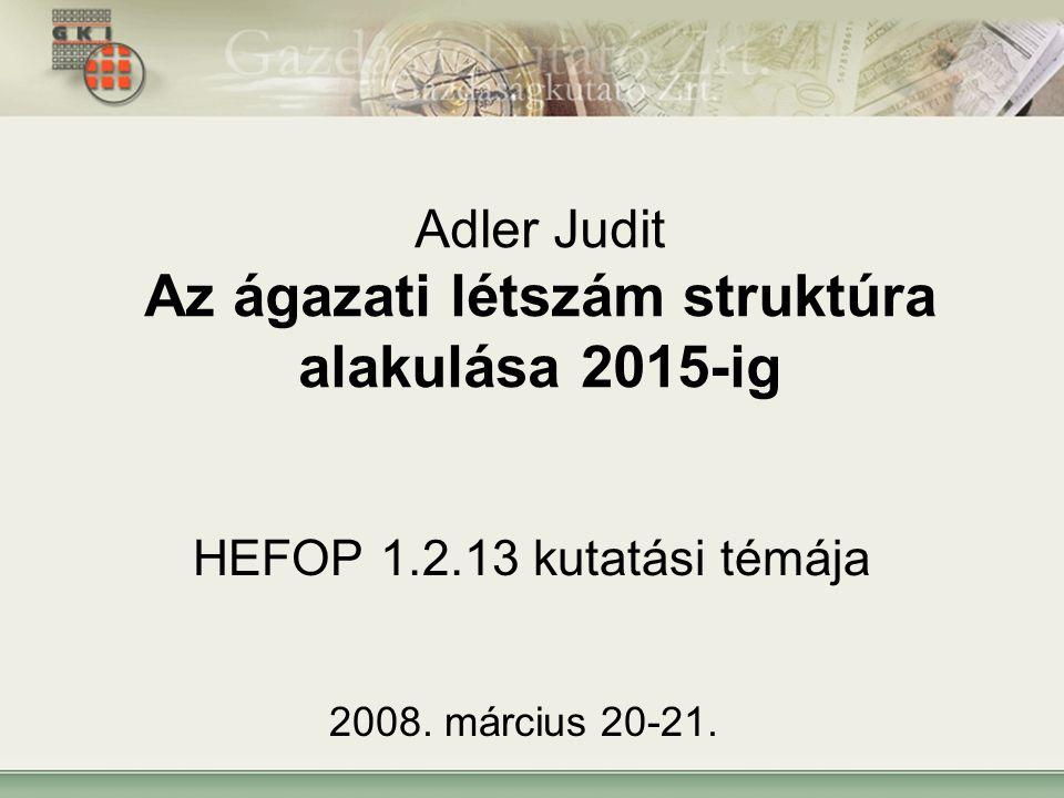 Adler Judit Az ágazati létszám struktúra alakulása 2015-ig HEFOP 1.2.13 kutatási témája 2008.