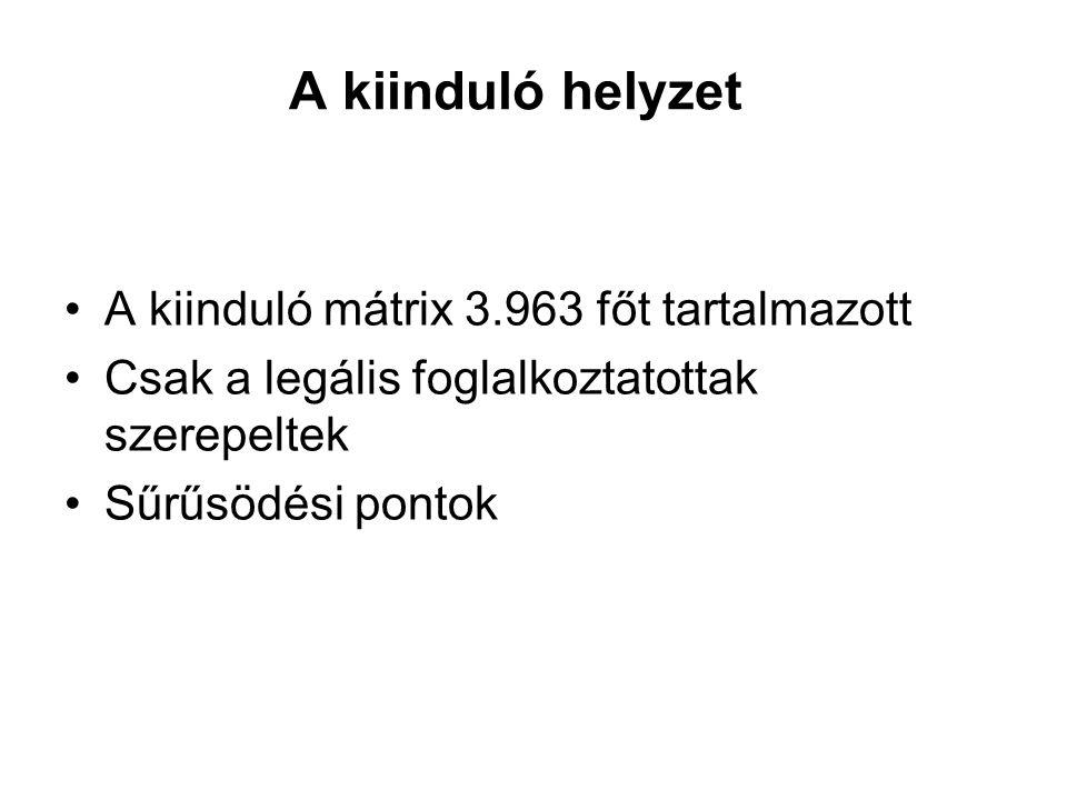 A kiinduló helyzet A kiinduló mátrix 3.963 főt tartalmazott Csak a legális foglalkoztatottak szerepeltek Sűrűsödési pontok