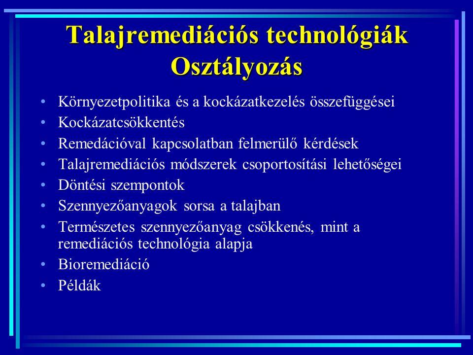 Döntési folyamat 1.Technológiai szempontok: szóbajövő technológiai alternatívák kijelölése 2.A megfelelő technológiai alternatívák rangsorolása (ökomérnök): 1.ökoszisztéma és az emberi egészség védelme, 2.kockázatkommunikációs és szociális szempontok, 3.területfejlesztés, területhasználat, 4.gazdasági szempontok.