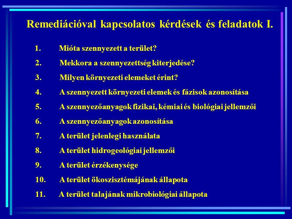 Remediációval kapcsolatos kérdések és feladatok II.