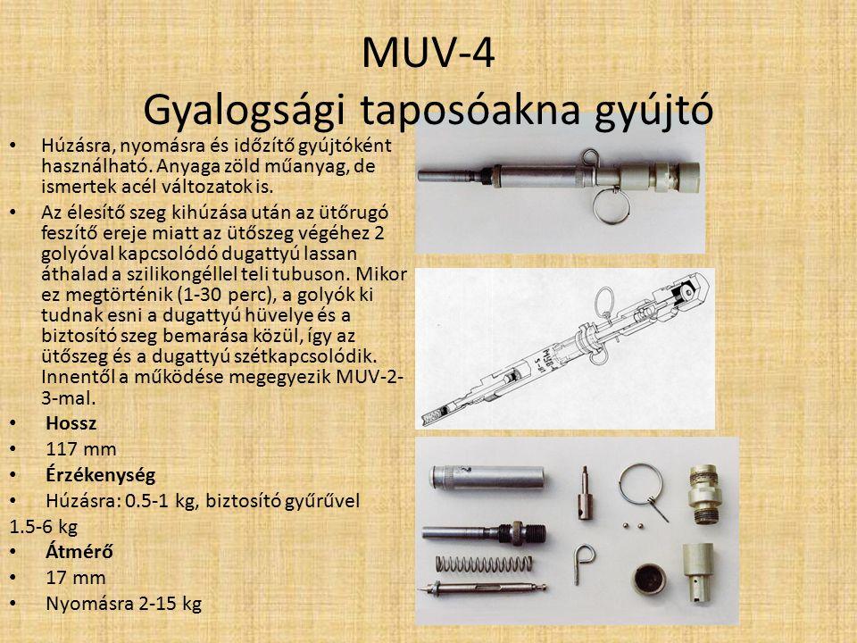 MUV-2, MUV-3 Gyalogsági taposóakna gyújtó A MUV gyújtó ólomlemezzel késleltetett élesítésű változata.