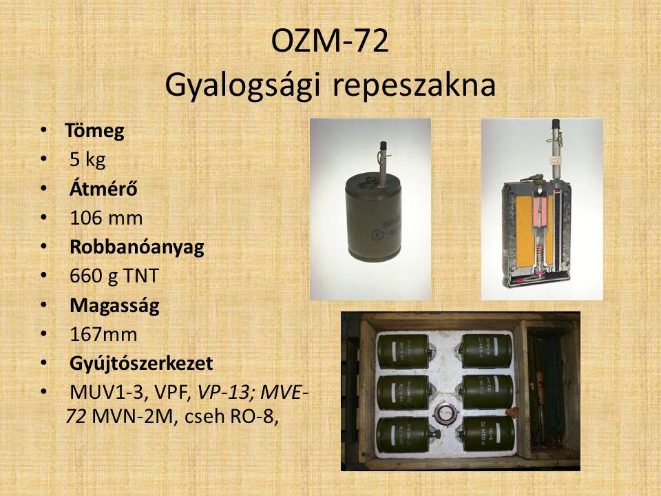 Jellemzők: Az OZM-72 egy szovjet, gyalogság elleni ugró-repeszakna.