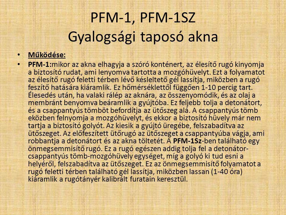 PFM-1, PFM-1SZ Gyalogsági taposó akna Jellemzők: A PFM-1 kicsi, orosz, puha műanyag testű személy elleni taposóakna.