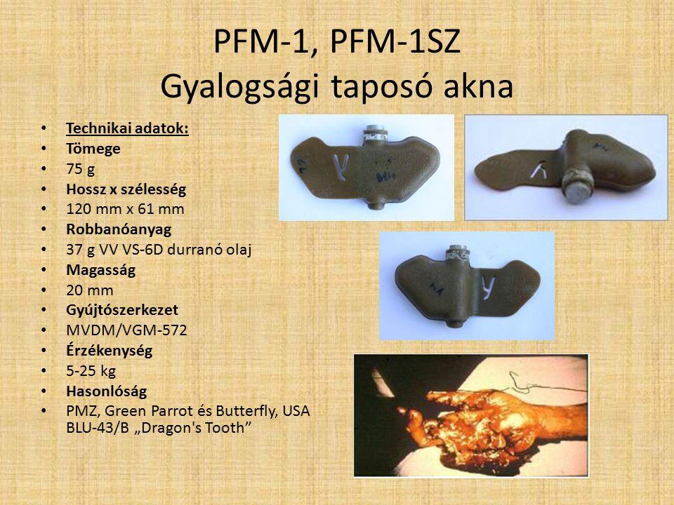PFM-1, PFM-1SZ Gyalogsági taposó akna Működése: PFM-1:mikor az akna elhagyja a szóró konténert, az élesítő rugó kinyomja a biztosító rudat, ami lenyomva tartotta a mozgóhüvelyt.