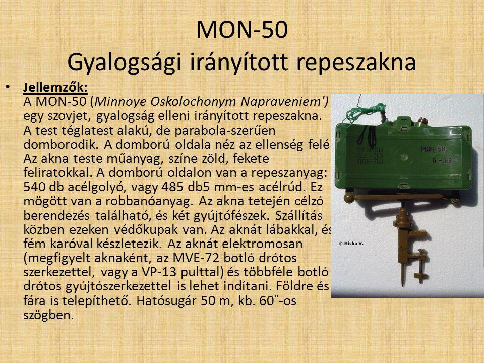 """PFM-1, PFM-1SZ Gyalogsági taposó akna Technikai adatok: Tömege 75 g Hossz x szélesség 120 mm x 61 mm Robbanóanyag 37 g VV VS-6D durranó olaj Magasság 20 mm Gyújtószerkezet MVDM/VGM-572 Érzékenység 5-25 kg Hasonlóság PMZ, Green Parrot és Butterfly, USA BLU-43/B """"Dragon s Tooth"""