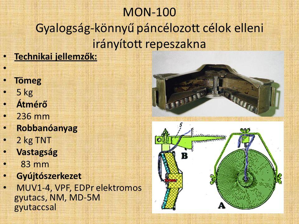 MON-100 Gyalogság-könnyű páncélozott célok elleni irányított repeszakna Jellemzők: A MON-100 egy szovjet, fémtestű, gyalogság és könnyű harcjárművek elleni irányított repeszakna.