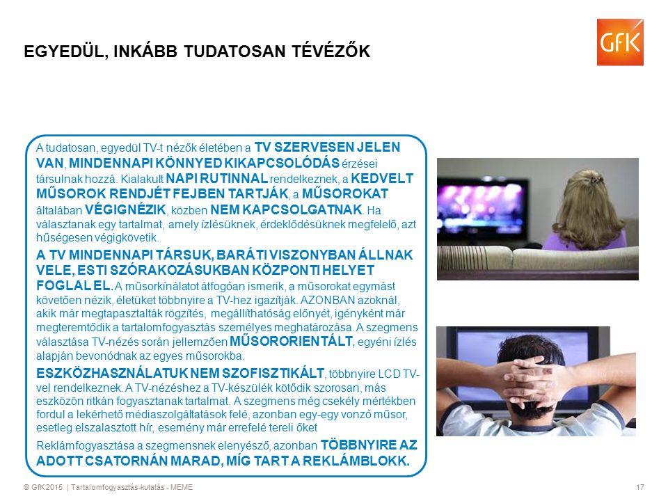 © GfK 2015 | Tartalomfogyasztás-kutatás - MEME17 EGYEDÜL, INKÁBB TUDATOSAN TÉVÉZŐK A tudatosan, egyedül TV-t nézők életében a TV SZERVESEN JELEN VAN, MINDENNAPI KÖNNYED KIKAPCSOLÓDÁS érzései társulnak hozzá.