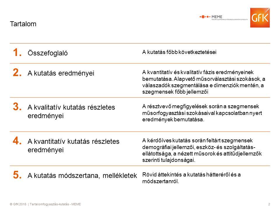 © GfK 2015 | Tartalomfogyasztás-kutatás - MEME2 Tartalom 1.1. Összefoglaló A kutatás főbb következtetései 2.2. A kutatás eredményei A kvantitatív és k