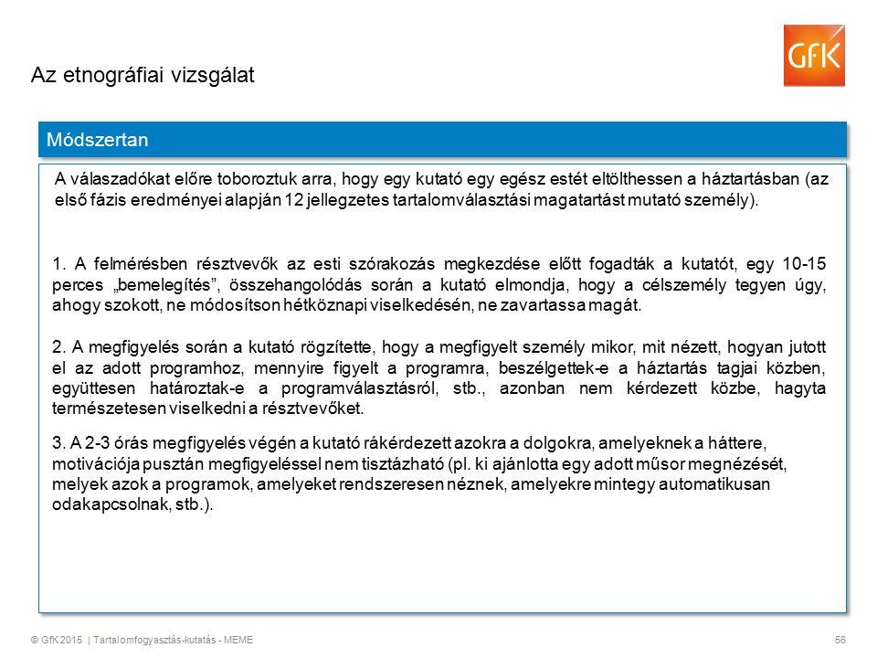 © GfK 2015 | Tartalomfogyasztás-kutatás - MEME56 Az etnográfiai vizsgálat Módszertan A válaszadókat előre toboroztuk arra, hogy egy kutató egy egész estét eltölthessen a háztartásban (az első fázis eredményei alapján 12 jellegzetes tartalomválasztási magatartást mutató személy).