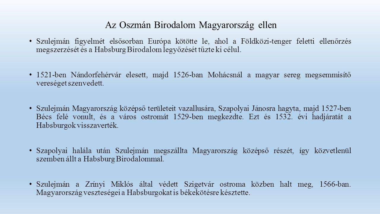 Az Oszmán Birodalom Magyarország ellen Szulejmán figyelmét elsősorban Európa kötötte le, ahol a Földközi-tenger feletti ellenőrzés megszerzését és a Habsburg Birodalom legyőzését tűzte ki célul.