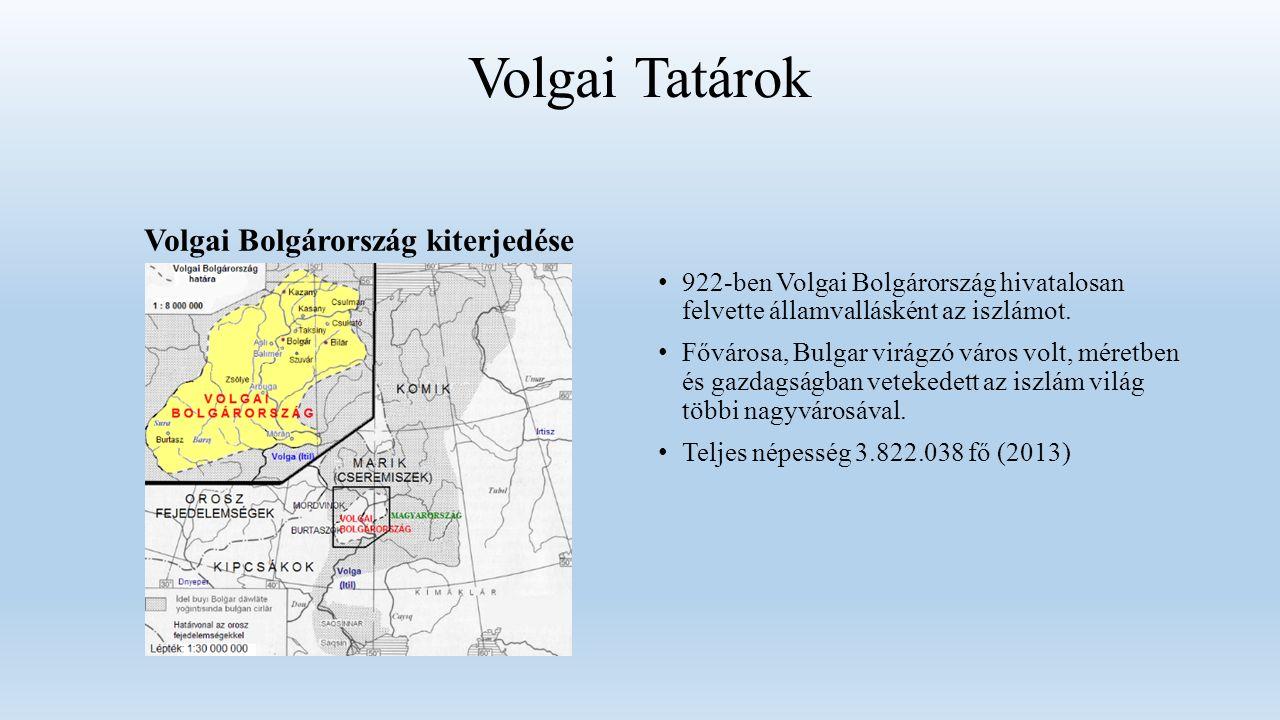 Volgai Tatárok Volgai Bolgárország kiterjedése 922-ben Volgai Bolgárország hivatalosan felvette államvallásként az iszlámot.
