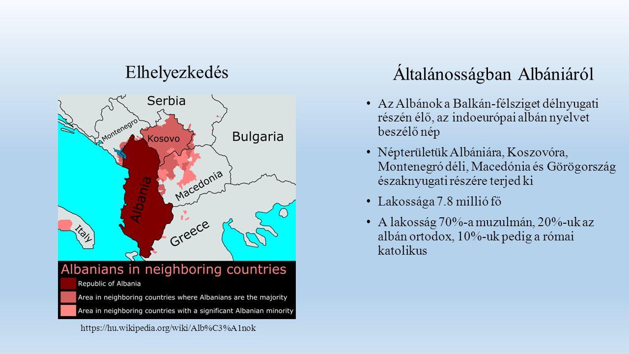 Elhelyezkedés Az Albánok a Balkán-félsziget délnyugati részén élő, az indoeurópai albán nyelvet beszélő nép Népterületük Albániára, Koszovóra, Montenegró déli, Macedónia és Görögország északnyugati részére terjed ki Lakossága 7.8 millió fő A lakosság 70%-a muzulmán, 20%-uk az albán ortodox, 10%-uk pedig a római katolikus https://hu.wikipedia.org/wiki/Alb%C3%A1nok Általánosságban Albániáról