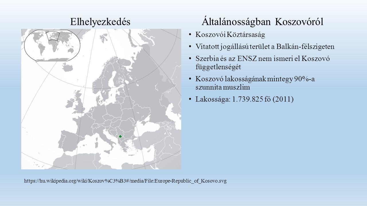 Koszovói Köztársaság Vitatott jogállású terület a Balkán-félszigeten Szerbia és az ENSZ nem ismeri el Koszovó függetlenségét Koszovó lakosságának mintegy 90%-a szunnita muszlim Lakossága: 1.739.825 fő (2011) ElhelyezkedésÁltalánosságban Koszovóról https://hu.wikipedia.org/wiki/Koszov%C3%B3#/media/File:Europe-Republic_of_Kosovo.svg