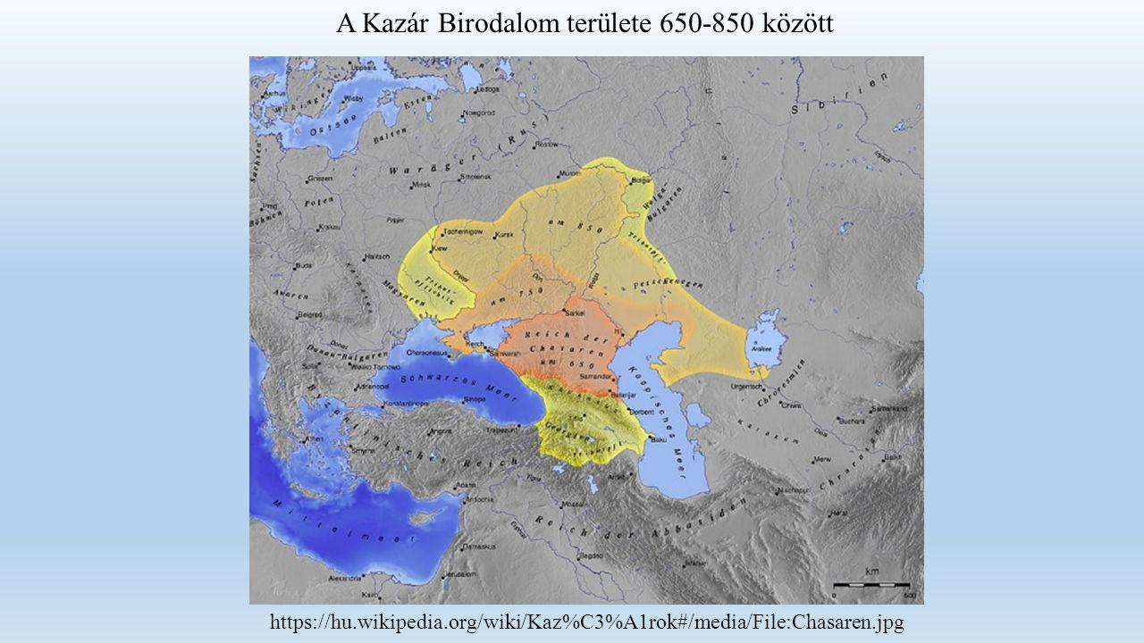A Kazár Birodalom területe 650-850 között https://hu.wikipedia.org/wiki/Kaz%C3%A1rok#/media/File:Chasaren.jpg