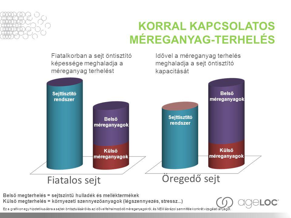 KORRAL KAPCSOLATOS MÉREGANYAG-TERHELÉS Sejttisztító rendszer Belső méreganya gok Fiatalos sejt Öregedő sejt Külső méreganyag ok Belső méreganya gok Belső megterhelés = sejtszintű hulladék és melléktermékek Külső megterhelés = környezeti szennyezőanyagok (légszennyezés, stressz...) Ez a grafikon egy hipotetikus ábra a sejtek öntisztulásáról és az idővel felhalmozódó méreganyagokról, és NEM ábrázol semmiféle konkrét vizsgálati anyagot.