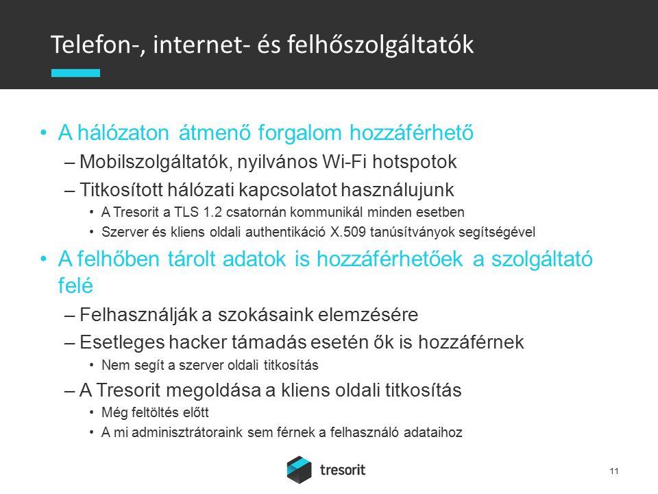 Telefon-, internet- és felhőszolgáltatók A hálózaton átmenő forgalom hozzáférhető –Mobilszolgáltatók, nyilvános Wi-Fi hotspotok –Titkosított hálózati kapcsolatot használujunk A Tresorit a TLS 1.2 csatornán kommunikál minden esetben Szerver és kliens oldali authentikáció X.509 tanúsítványok segítségével A felhőben tárolt adatok is hozzáférhetőek a szolgáltató felé –Felhasználják a szokásaink elemzésére –Esetleges hacker támadás esetén ők is hozzáférnek Nem segít a szerver oldali titkosítás –A Tresorit megoldása a kliens oldali titkosítás Még feltöltés előtt A mi adminisztrátoraink sem férnek a felhasználó adataihoz 11