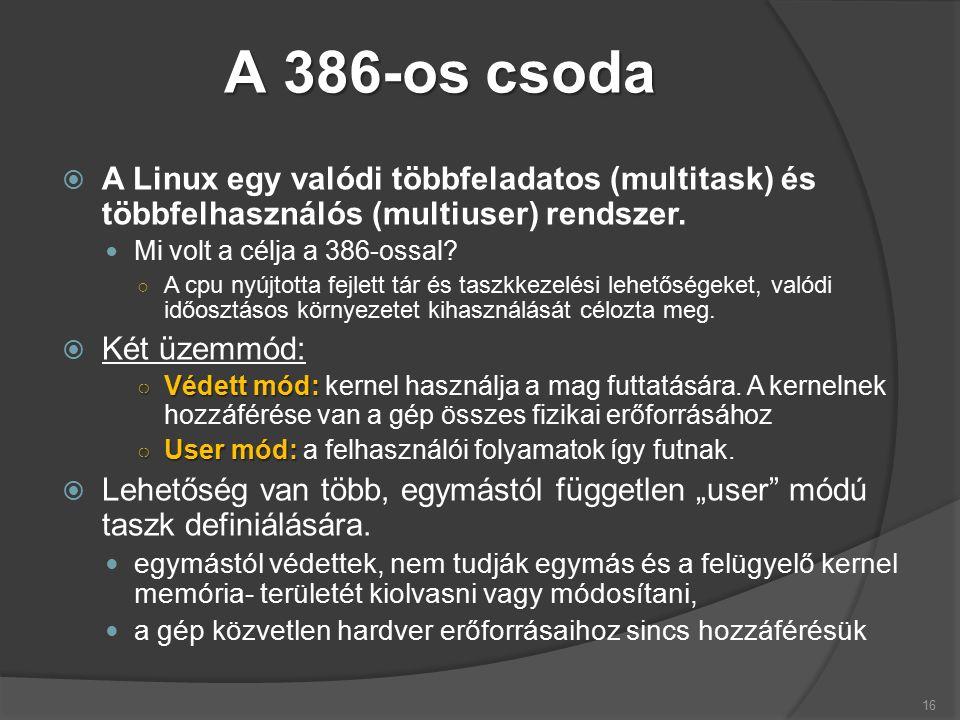 A 386-os csoda  A Linux egy valódi többfeladatos (multitask) és többfelhasználós (multiuser) rendszer.