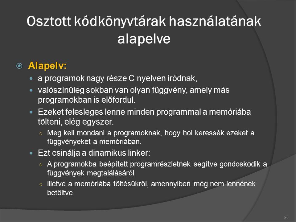 Osztott kódkönyvtárak használatának alapelve  Alapelv: a programok nagy része C nyelven íródnak, valószínűleg sokban van olyan függvény, amely más programokban is előfordul.