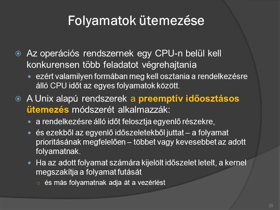 Folyamatok ütemezése  Az operációs rendszernek egy CPU-n belül kell konkurensen több feladatot végrehajtania ezért valamilyen formában meg kell osztania a rendelkezésre álló CPU időt az egyes folyamatok között.