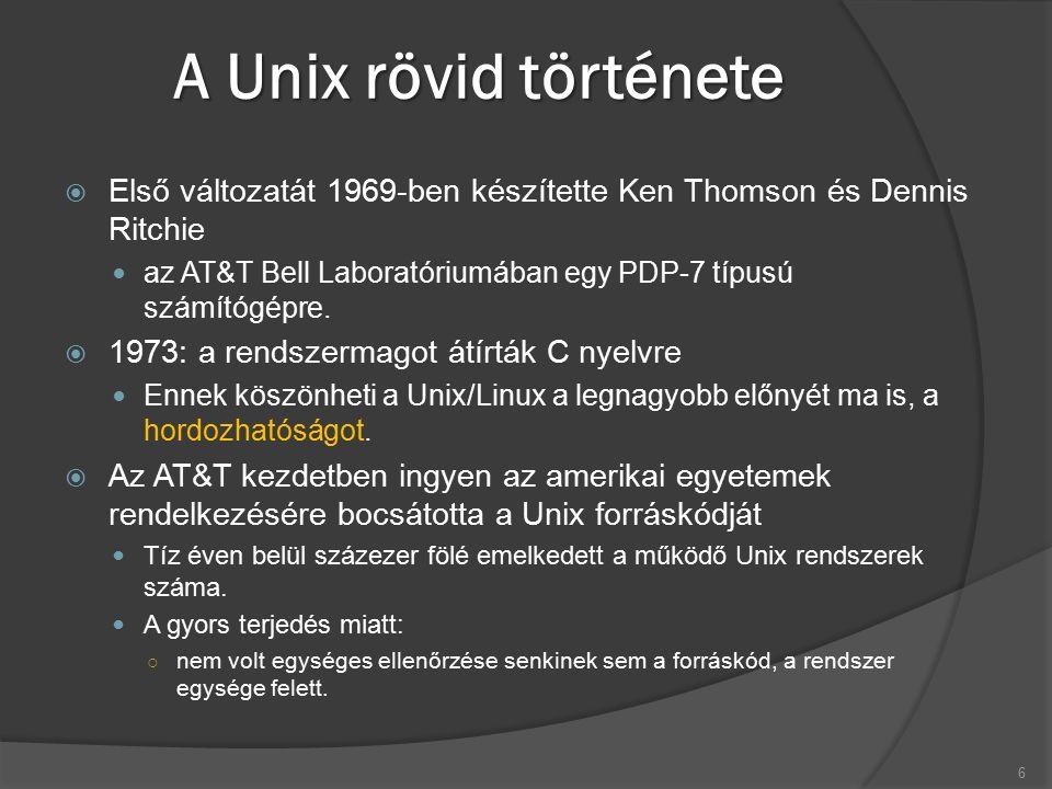 A Unix rövid története  Első változatát 1969-ben készítette Ken Thomson és Dennis Ritchie az AT&T Bell Laboratóriumában egy PDP-7 típusú számítógépre.