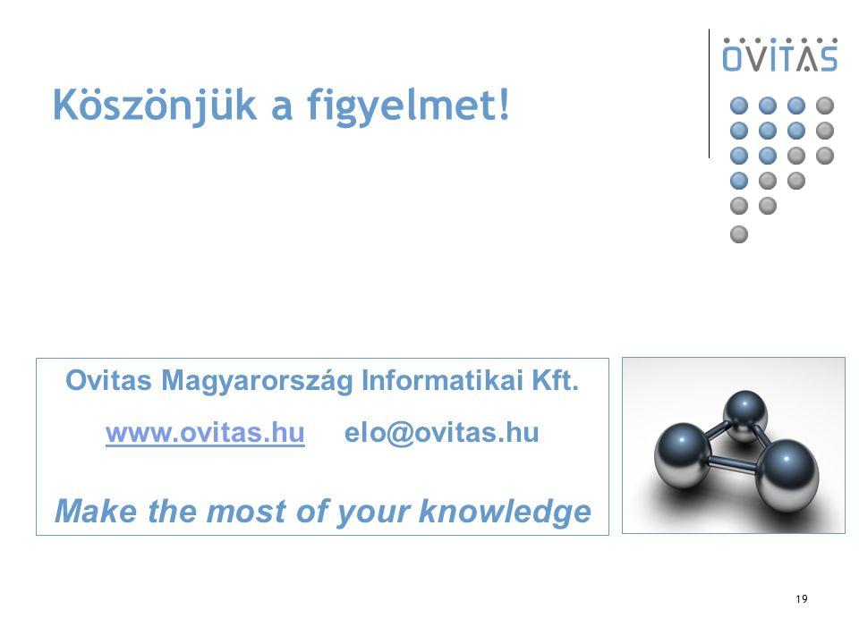 19 Köszönjük a figyelmet! Ovitas Magyarország Informatikai Kft. www.ovitas.huwww.ovitas.hu elo@ovitas.hu Make the most of your knowledge