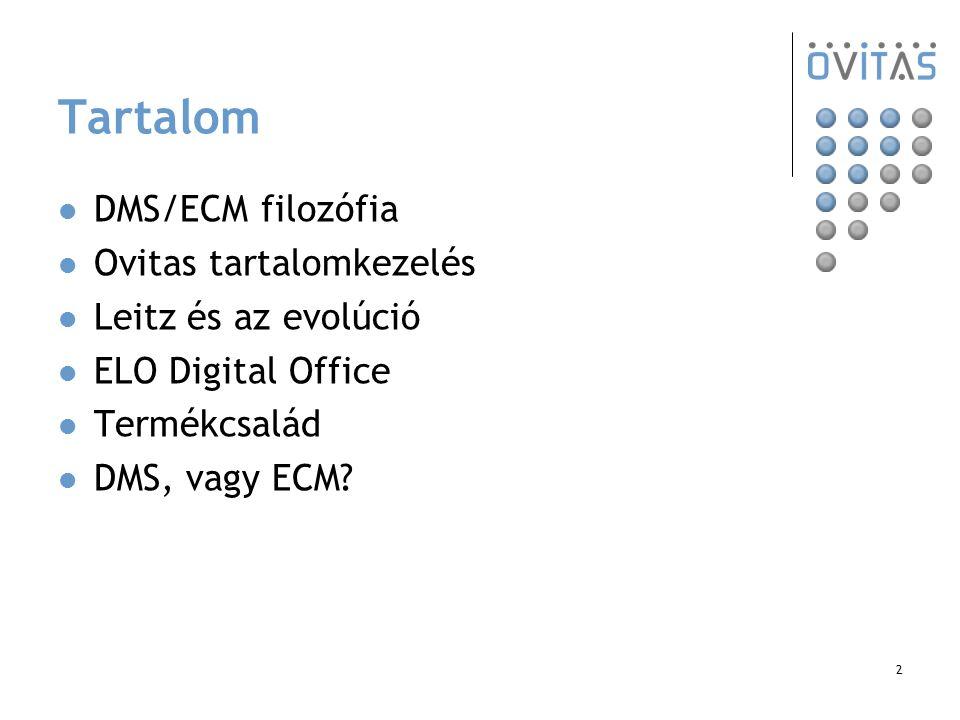 2 Tartalom DMS/ECM filozófia Ovitas tartalomkezelés Leitz és az evolúció ELO Digital Office Termékcsalád DMS, vagy ECM?