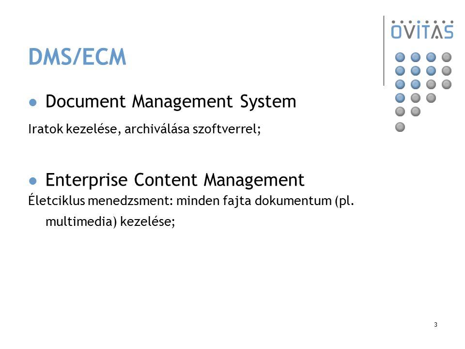 3 DMS/ECM Document Management System Iratok kezelése, archiválása szoftverrel; Enterprise Content Management Életciklus menedzsment: minden fajta doku