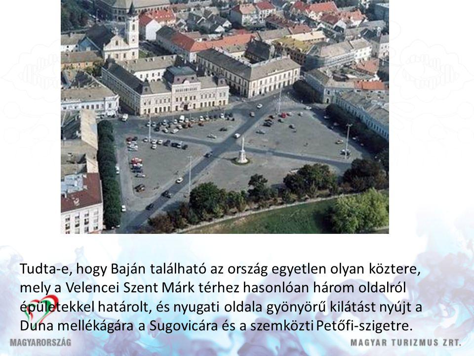 Tudta-e, hogy Baján található az ország egyetlen olyan köztere, mely a Velencei Szent Márk térhez hasonlóan három oldalról épületekkel határolt, és nyugati oldala gyönyörű kilátást nyújt a Duna mellékágára a Sugovicára és a szemközti Petőfi-szigetre.