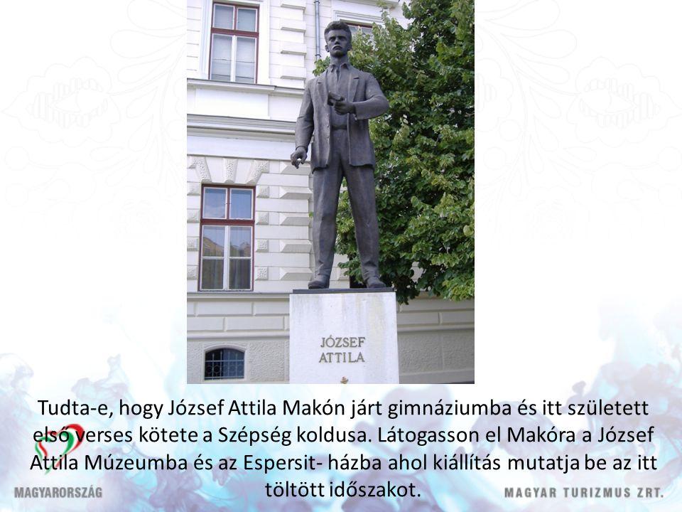 Tudta-e, hogy József Attila Makón járt gimnáziumba és itt született első verses kötete a Szépség koldusa.