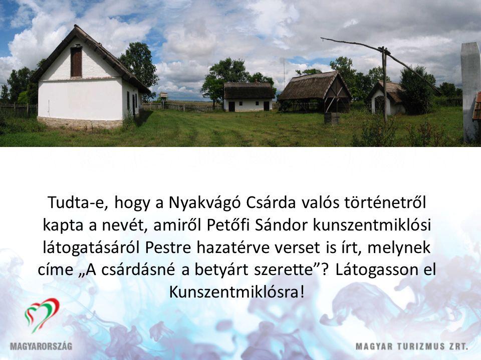 """Tudta-e, hogy a Nyakvágó Csárda valós történetről kapta a nevét, amiről Petőfi Sándor kunszentmiklósi látogatásáról Pestre hazatérve verset is írt, melynek címe """"A csárdásné a betyárt szerette ."""