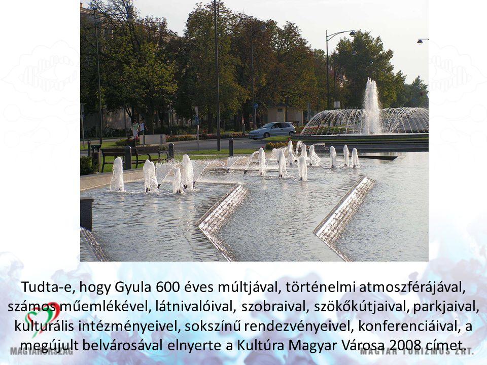 Tudta-e, hogy Gyula 600 éves múltjával, történelmi atmoszférájával, számos műemlékével, látnivalóival, szobraival, szökőkútjaival, parkjaival, kulturális intézményeivel, sokszínű rendezvényeivel, konferenciáival, a megújult belvárosával elnyerte a Kultúra Magyar Városa 2008 címet.