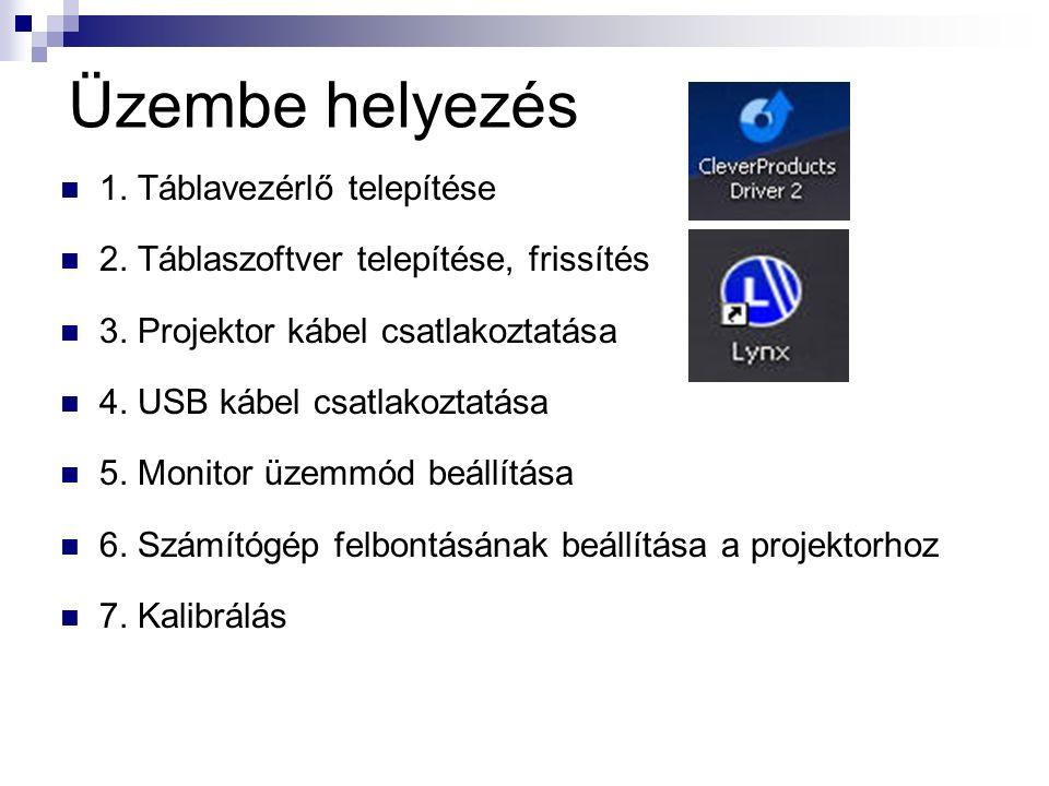 Üzembe helyezés 1. Táblavezérlő telepítése 2. Táblaszoftver telepítése, frissítés 3.