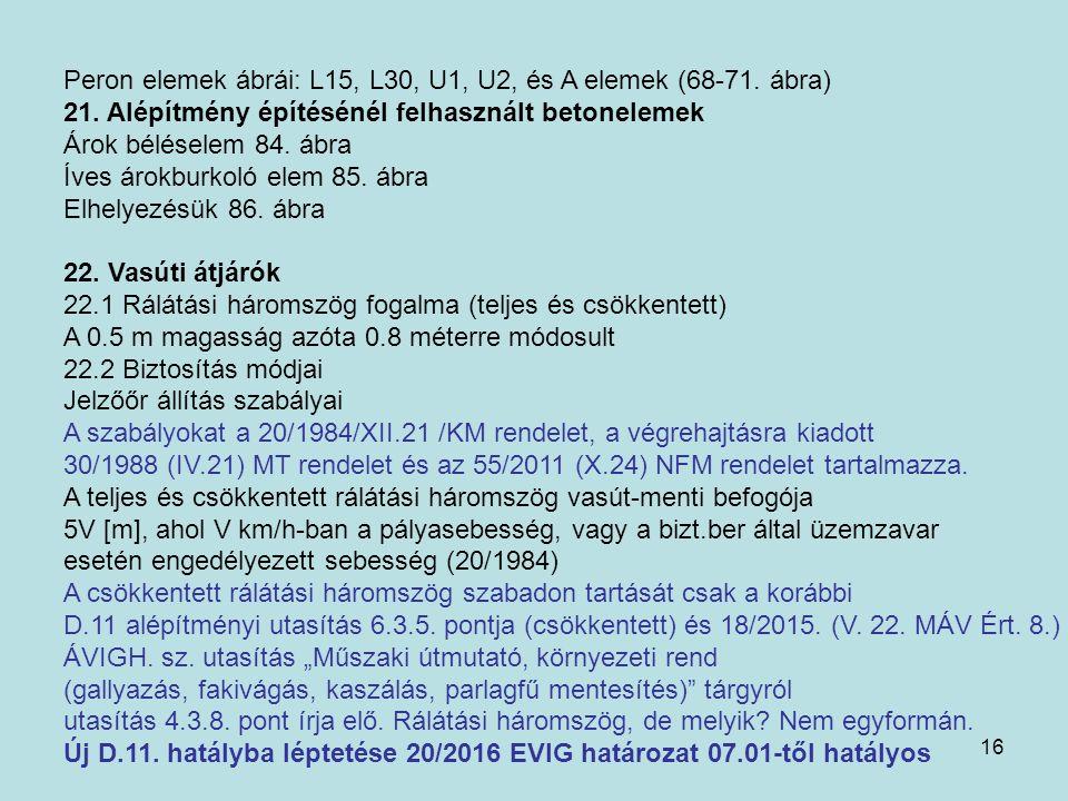 16 Peron elemek ábrái: L15, L30, U1, U2, és A elemek (68-71. ábra) 21. Alépítmény építésénél felhasznált betonelemek Árok béléselem 84. ábra Íves árok