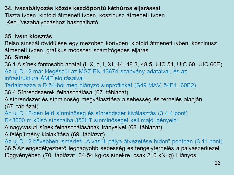 22 34. Ívszabályozás közös kezdőpontú kéthúros eljárással Tiszta ívben, klotoid átmeneti ívben, koszinusz átmeneti ívben Kézi ívszabályozáshoz használ