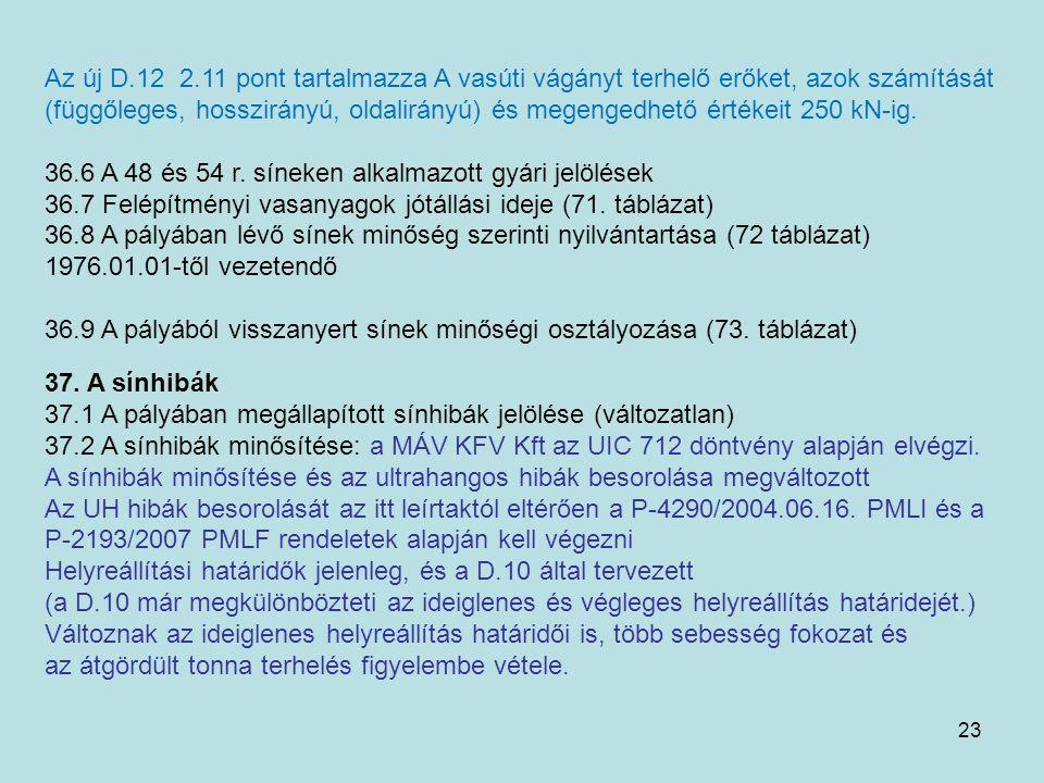 23 Az új D.12 2.11 pont tartalmazza A vasúti vágányt terhelő erőket, azok számítását (függőleges, hosszirányú, oldalirányú) és megengedhető értékeit 2