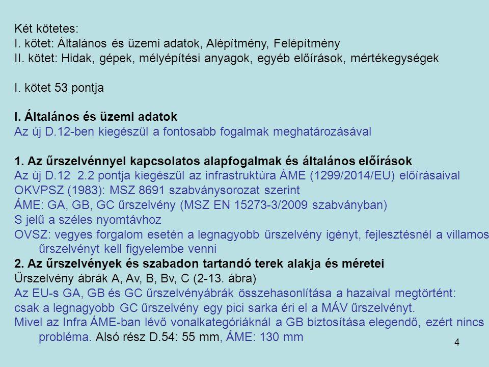 4 Két kötetes: I. kötet: Általános és üzemi adatok, Alépítmény, Felépítmény II.