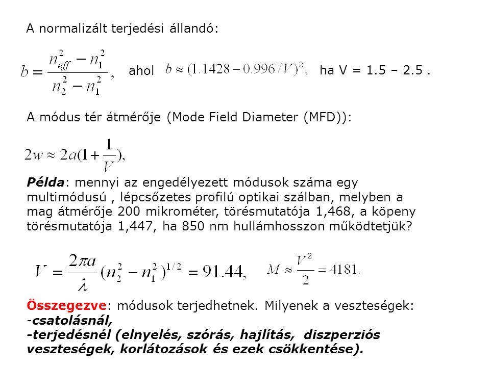 A normalizált terjedési állandó: ahol ha V = 1.5 – 2.5. A módus tér átmérője (Mode Field Diameter (MFD)): Példa: mennyi az engedélyezett módusok száma