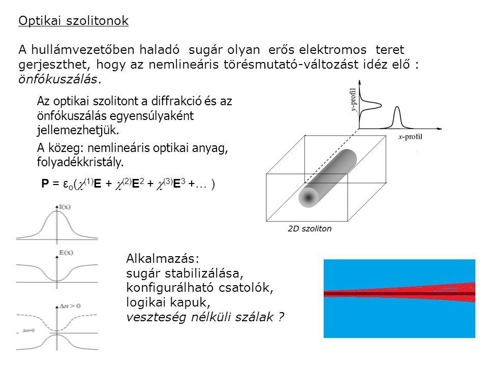 Optikai szolitonok A hullámvezetőben haladó sugár olyan erős elektromos teret gerjeszthet, hogy az nemlineáris törésmutató-változást idéz elő : önfókuszálás.