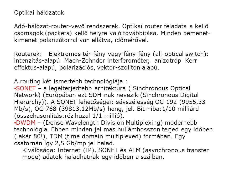 Optikai hálózatok Adó-hálózat-router-vevő rendszerek. Optikai router feladata a kellő csomagok (packets) kellő helyre való továbbítása. Minden bemenet
