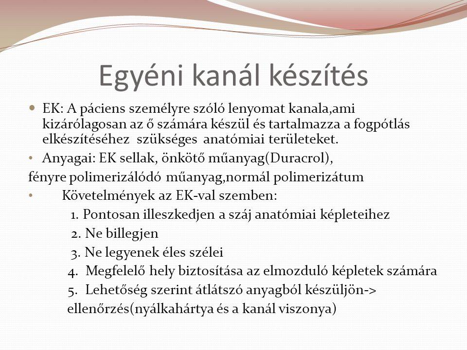 Egyéni kanál készítés EK: A páciens személyre szóló lenyomat kanala,ami kizárólagosan az ő számára készül és tartalmazza a fogpótlás elkészítéséhez sz