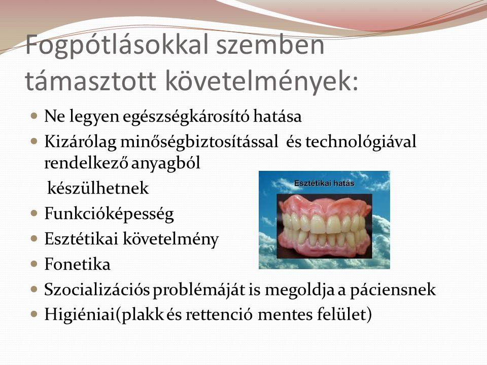 Fogpótlásokkal szemben támasztott követelmények: Ne legyen egészségkárosító hatása Kizárólag minőségbiztosítással és technológiával rendelkező anyagból készülhetnek Funkcióképesség Esztétikai követelmény Fonetika Szocializációs problémáját is megoldja a páciensnek Higiéniai(plakk és rettenció mentes felület)