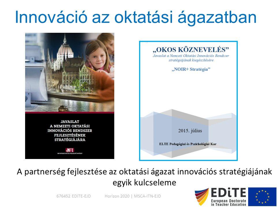 Innováció az oktatási ágazatban A partnerség fejlesztése az oktatási ágazat innovációs stratégiájának egyik kulcseleme 676452 EDiTE-EJDHorizon 2020 | MSCA-ITN-EJD