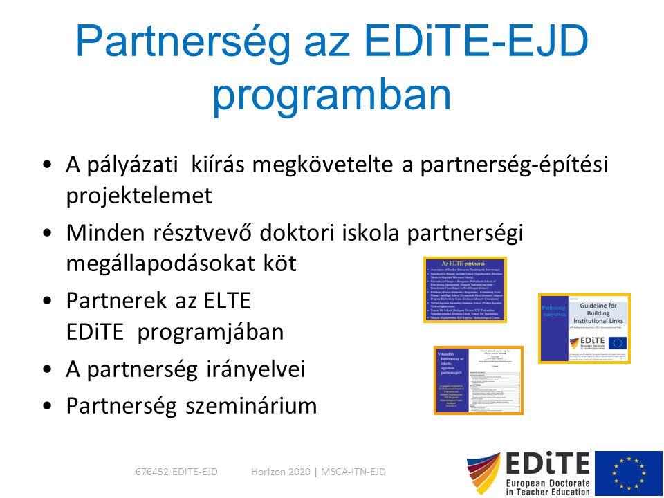 Partnerség az EDiTE-EJD programban A pályázati kiírás megkövetelte a partnerség-építési projektelemet Minden résztvevő doktori iskola partnerségi megállapodásokat köt Partnerek az ELTE EDiTE programjában A partnerség irányelvei Partnerség szeminárium Horizon 2020 | MSCA-ITN-EJD676452 EDiTE-EJD