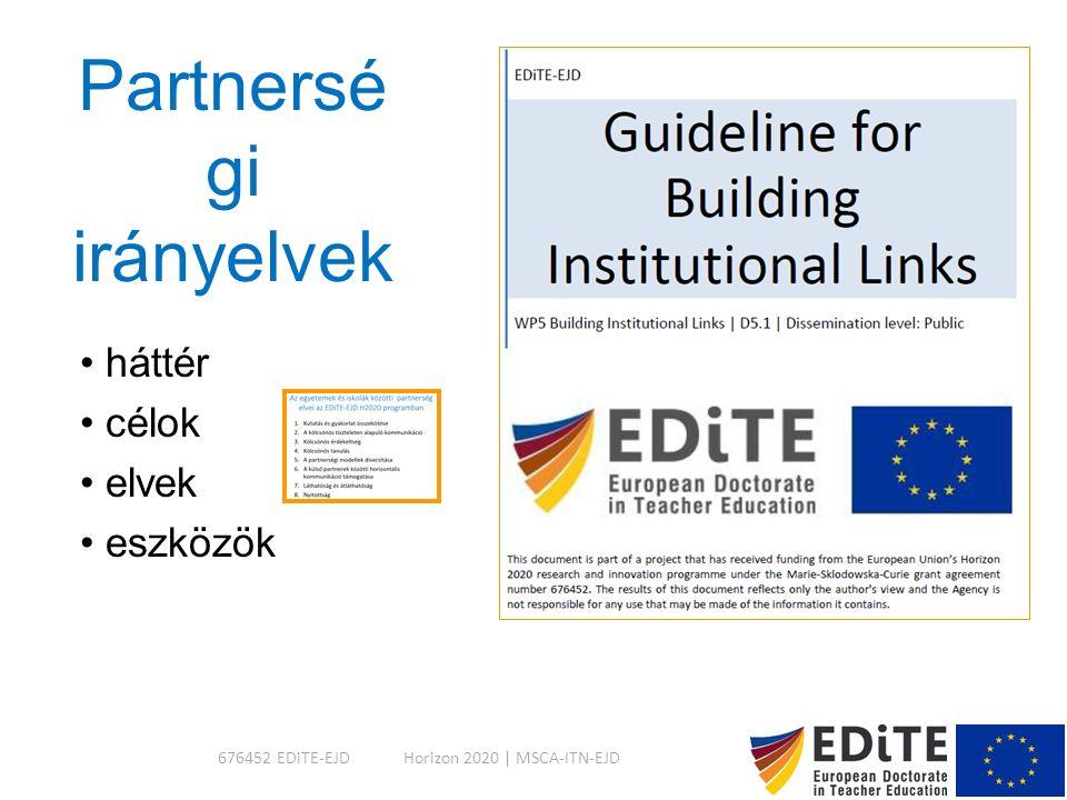 Partnersé gi irányelvek háttér célok elvek eszközök Horizon 2020 | MSCA-ITN-EJD676452 EDiTE-EJD