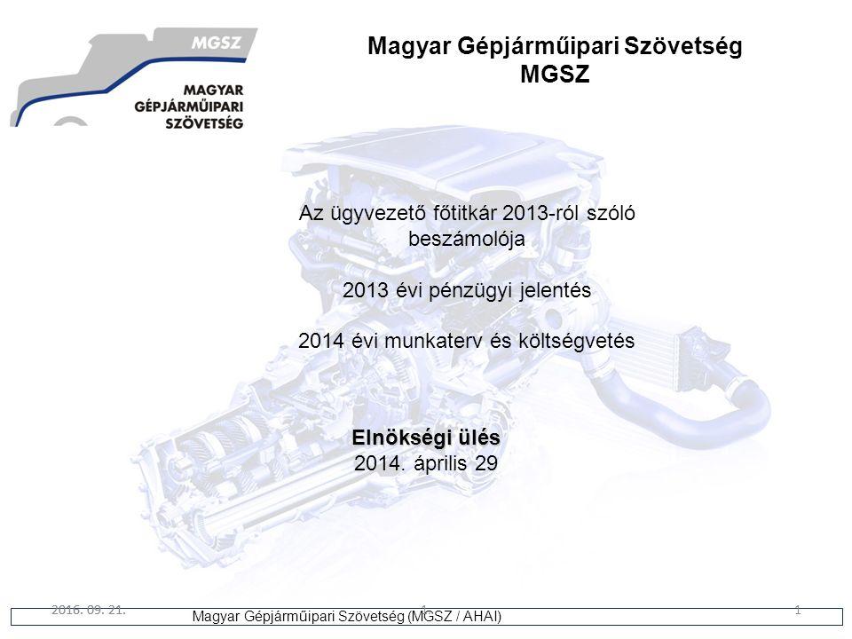 1 Magyar Gépjárműipari Szövetség (MGSZ / AHAI) 2016. 09. 21.1.1 Az ügyvezető főtitkár 2013-ról szóló beszámolója 2013 évi pénzügyi jelentés 2014 évi m