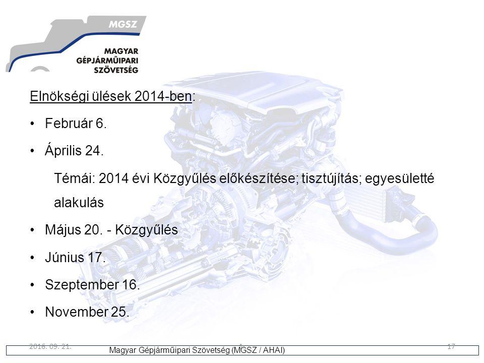 17 Magyar Gépjárműipari Szövetség (MGSZ / AHAI) 2016. 09. 21.1.17 Elnökségi ülések 2014-ben: Február 6. Április 24. Témái: 2014 évi Közgyűlés előkészí