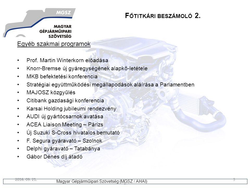 3 Magyar Gépjárműipari Szövetség (MGSZ / AHAI) 2016. 09. 21. 1. 3 F ŐTITKÁRI BESZÁMOLÓ 2. Egyéb szakmai programok Prof. Martin Winterkorn előadása Kno