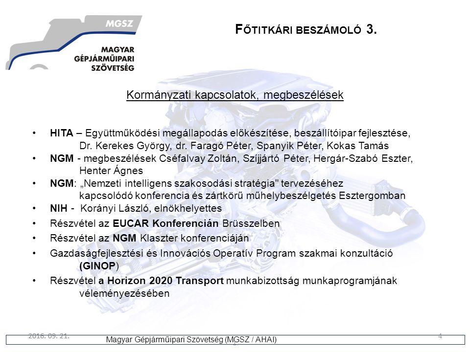 4 Magyar Gépjárműipari Szövetség (MGSZ / AHAI) 2016. 09. 21. 1. 4 F ŐTITKÁRI BESZÁMOLÓ 3. Kormányzati kapcsolatok, megbeszélések HITA – Együttműködési