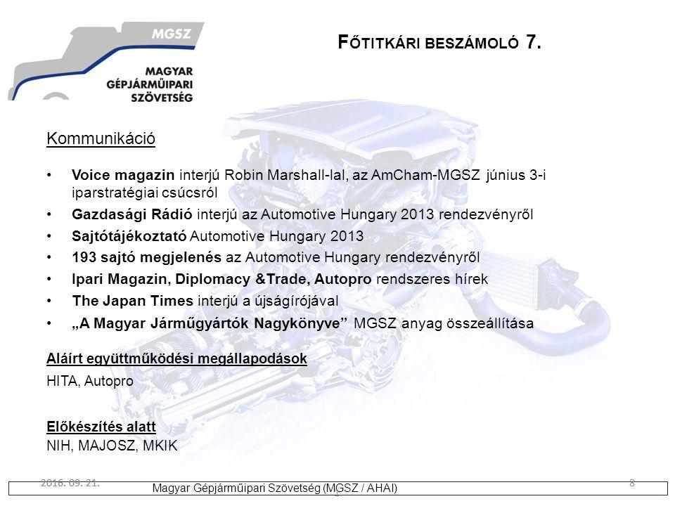 8 Magyar Gépjárműipari Szövetség (MGSZ / AHAI) 2016. 09. 21. 1. 8 F ŐTITKÁRI BESZÁMOLÓ 7. Kommunikáció Voice magazin interjú Robin Marshall-lal, az Am
